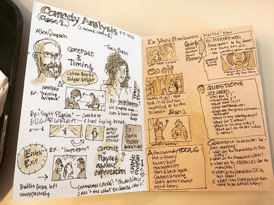 Sketch notes from a Comedy Analysis class